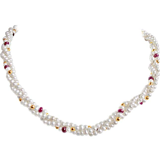 Ruby Love Pearls - Twisted 3 Line Real Ruby & Freshwater Pearl Necklace for Women (RBN16)