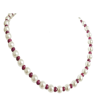 Ruby Shell beads -Ruby+Pearl