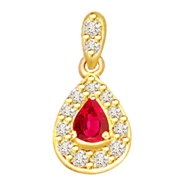 Ruby to Rule -0.26ct Diamond & Pear Ruby Pendants -Diamond -Ruby