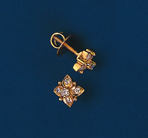 Bedazzled Diamond Earrings S -260 -Flower Shape Earrings
