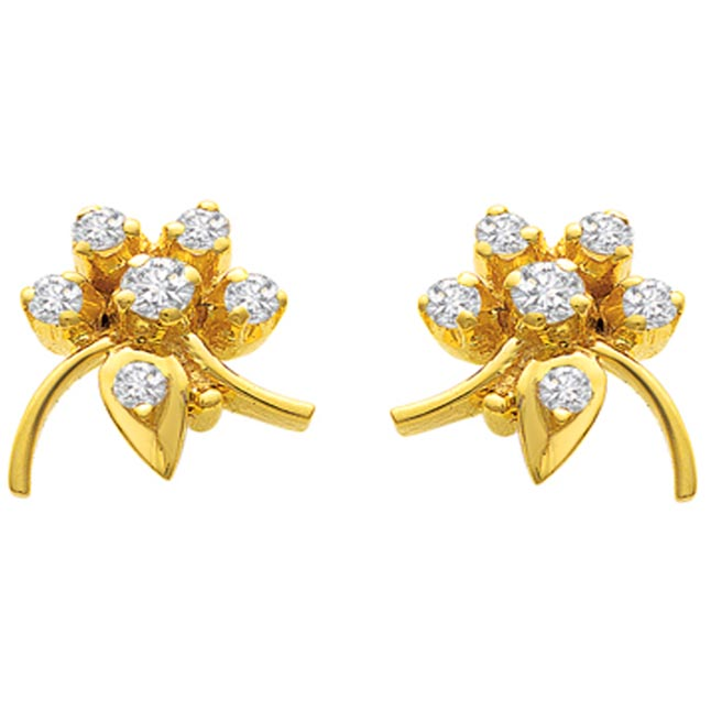Fabulous Flower Diamond Earrings S -262 -Flower Shape Earrings