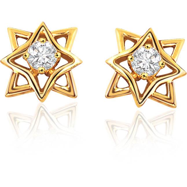 Starlight Star Shaped Diamond Earrings -Solitaire Earrings