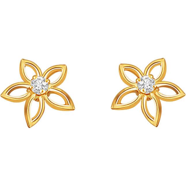 Complete Star's 0.10cts Diamond Earrings S -268 -Flower Shape Earrings