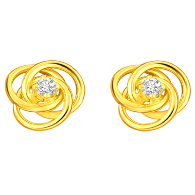 Ravishing Round Shaped Diamond Earrings -Solitaire Earrings