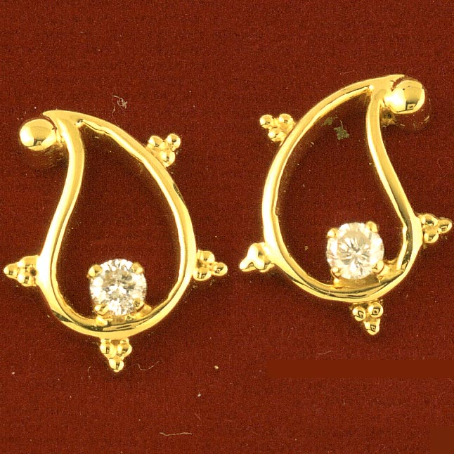 Diamond Embellishment Earrings -Solitaire Earrings