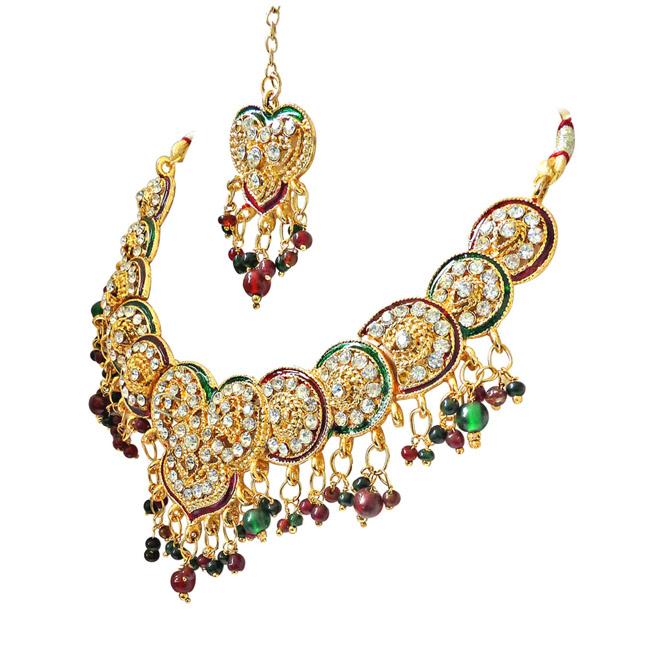 Salima:Heart & Round Motif Kundan Polki Fashion Jewellery Set