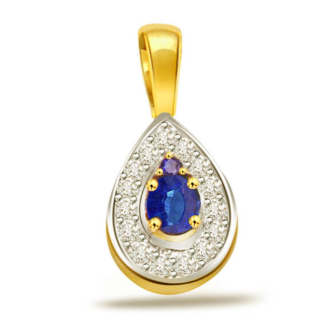 Sapphire Affair -0.16ct Diamond & Pear Sapphire Gold Pendants