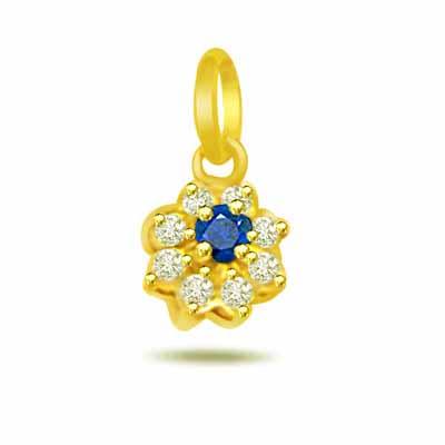 Sapphire Forever -0.08ct Trendy Diamond & Sapphire 18kt Gold Pendants
