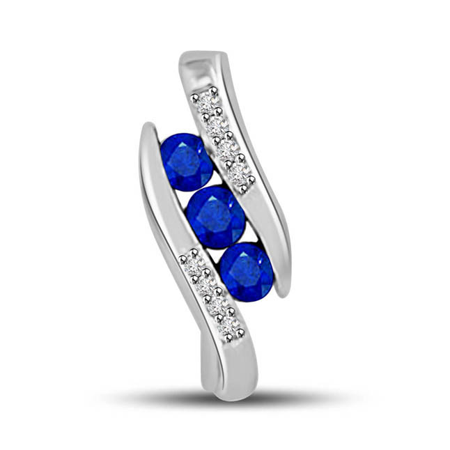 Sapphire Trio:Diamond & Blue Sapphire White Gold Elegant Pendants For Your Love