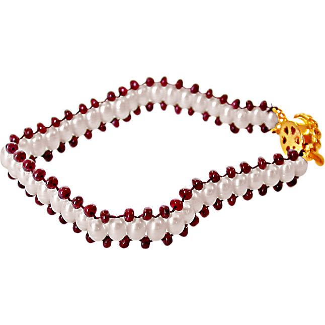 Ruby Charm n Pearl Magic -Pre.Stone Bracelet