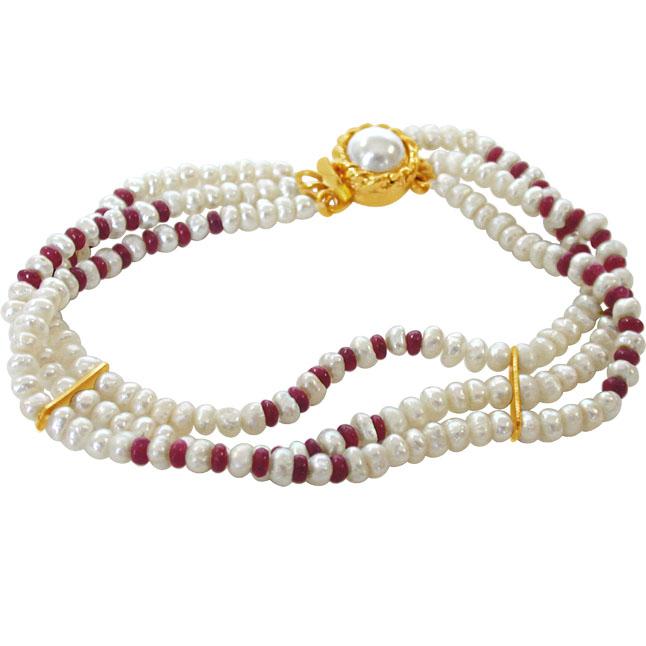 Pearl Ruby Creation -Pre.Stone Bracelet