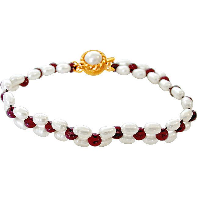 Irresistible Pearls n Adorning Rubies -Pre.Stone Bracelet