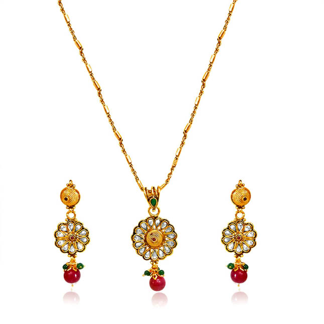 Round Rajasthani Red & Green Polki Set SD -11