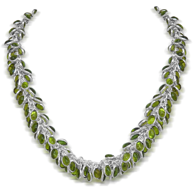 Green Coloured Stone & Silver Plated Necklace -Necklace