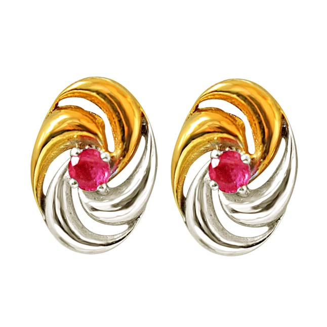Golden Wind Chimes Red Real Ruby Gemstone Earrings in 925 Sterling Silver (SDE11)