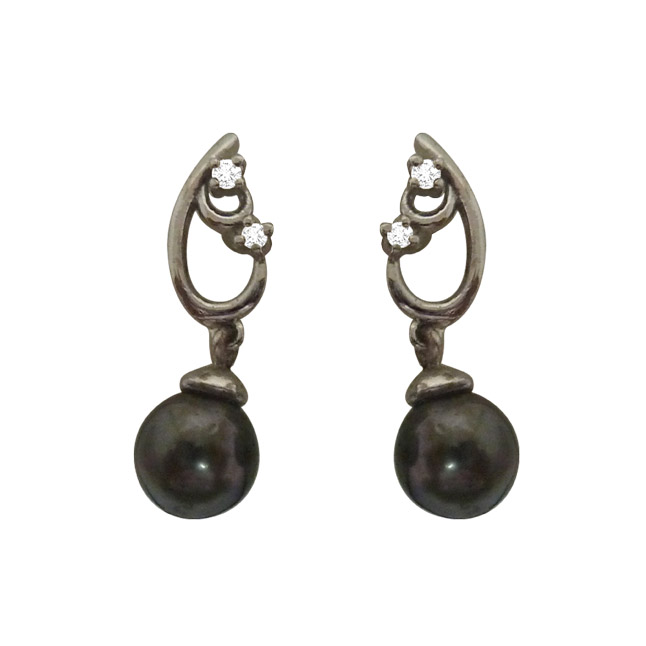 Tahitian Pearl & Real Diamond Fancy 925 Silver Earrings -Tahitian Pearl Earrings