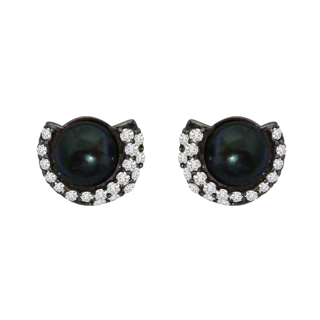 1.25ct Real Diamond & Tahitian Black Pearl Earring In 925 Silver (SDE4)