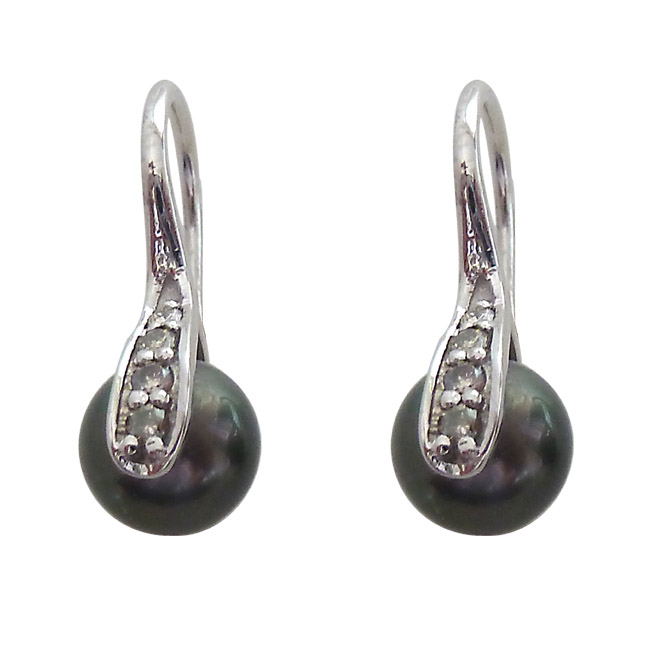 Real Diamond & Tahitian Pearl 925 Silver Bali Fancy Earrings -Tahitian Pearl Earrings