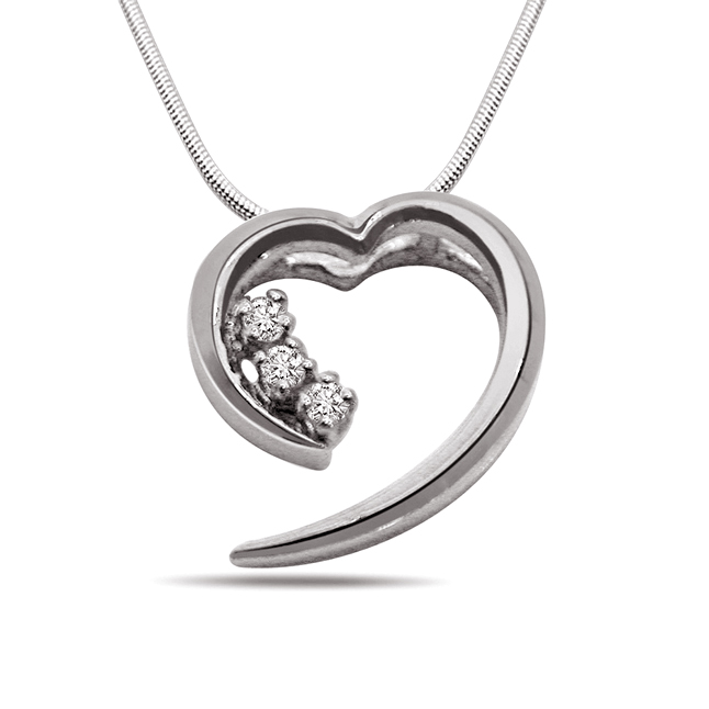 Fall in Love - Real Diamond & Sterling Silver Pendant with 18 IN Chain