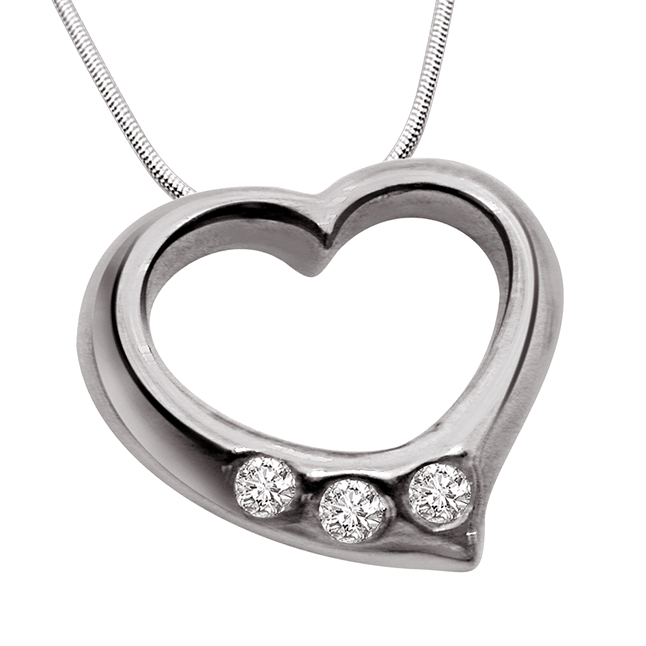 "Delight Love -Real Diamond & Sterling Silver Pendants with 18"" Chain"