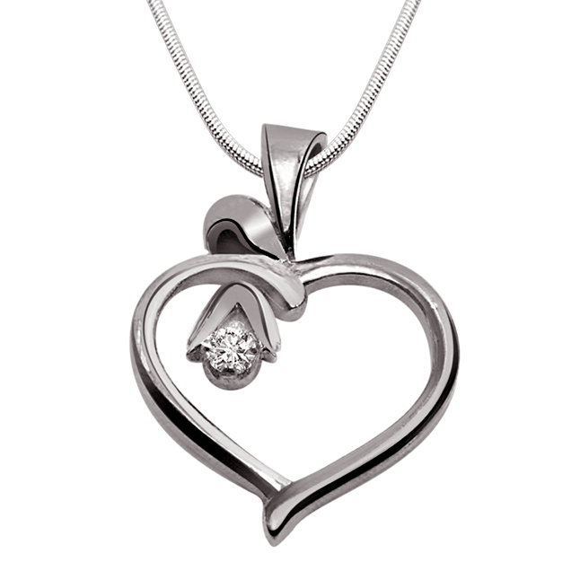 "Desire Love -Real Diamond & Sterling Silver Pendants with 18"" Chain"