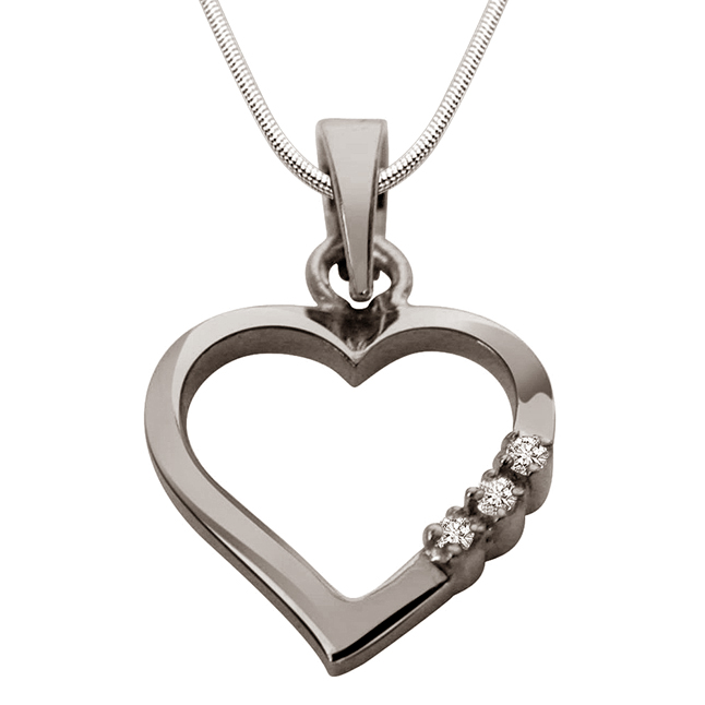 "Way To Heart  -Real Diamond & Sterling Silver Pendants with 18"" Chain"