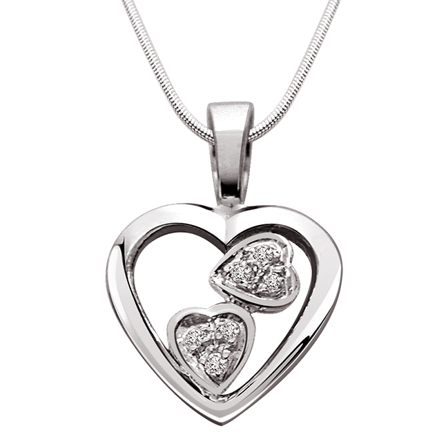 "Two Soul in One Heart -Real Diamond & Sterling Silver Pendants with 18"" Chain"