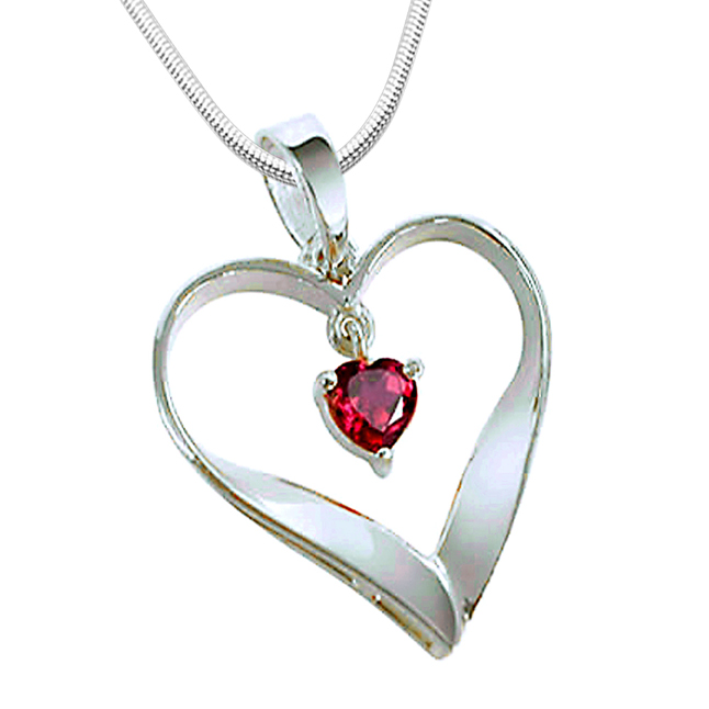 "Heart of Red -Real Red Ruby & Sterling Silver Pendants with 18"" Chain"
