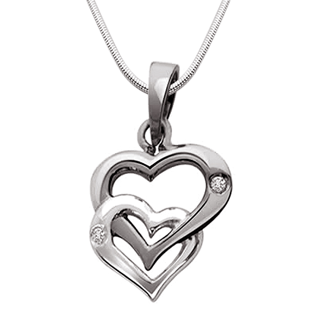 Unique Bonding - Real Diamond & Sterling Silver Pendant with 18 IN Chain