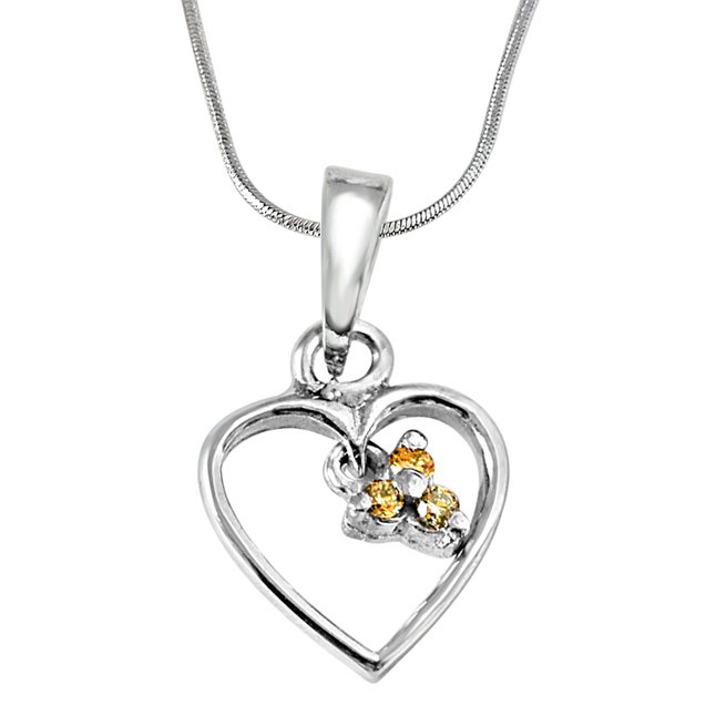 "Love Blooms -Real Diamond & Sterling Silver Pendants with 18"" Chain"