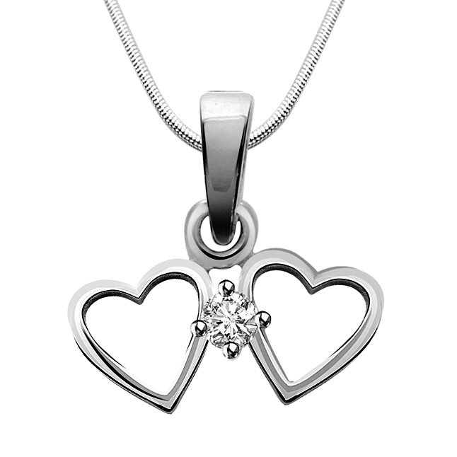 "Made for Each Other -Real Diamond & Sterling Silver Pendants with 18"" Chain"