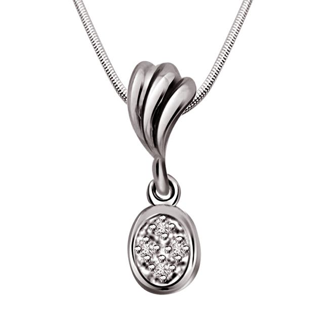 "Fashion Review -Real Diamond & Sterling Silver Pendants with 18"" Chain"