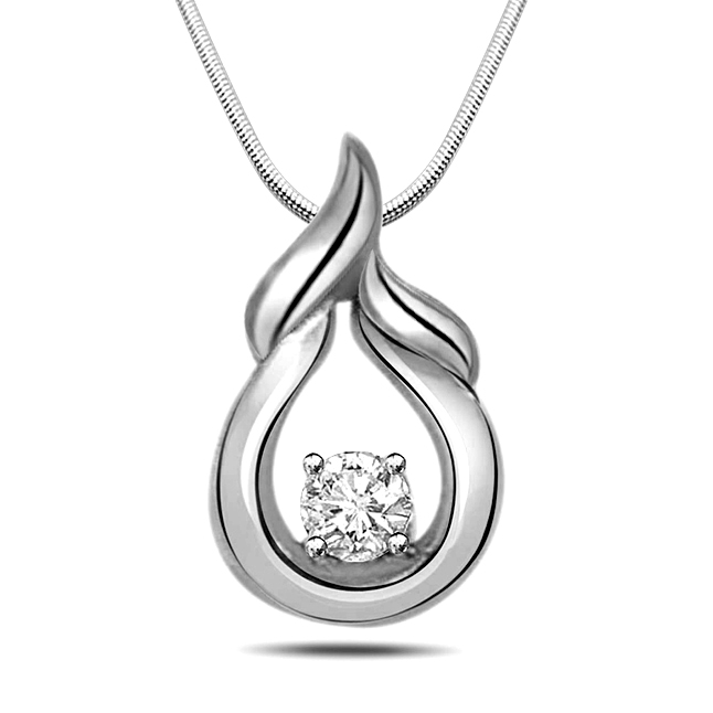 "Natural High -Real Diamond & Sterling Silver Pendants with 18"" Chain"