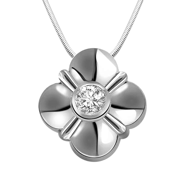 Nature's Beauty - Real Diamond & Sterling Silver Pendant with 18 IN Chain