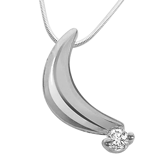 "Forever Mine -Real Diamond & Sterling Silver Pendants with 18"" Chain"