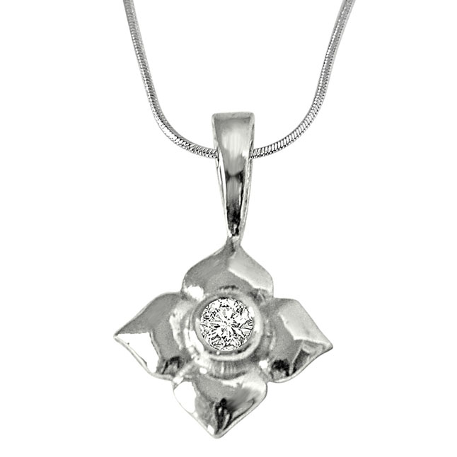 "Petal's Power -Real Diamond & Sterling Silver Pendants with 18"" Chain"