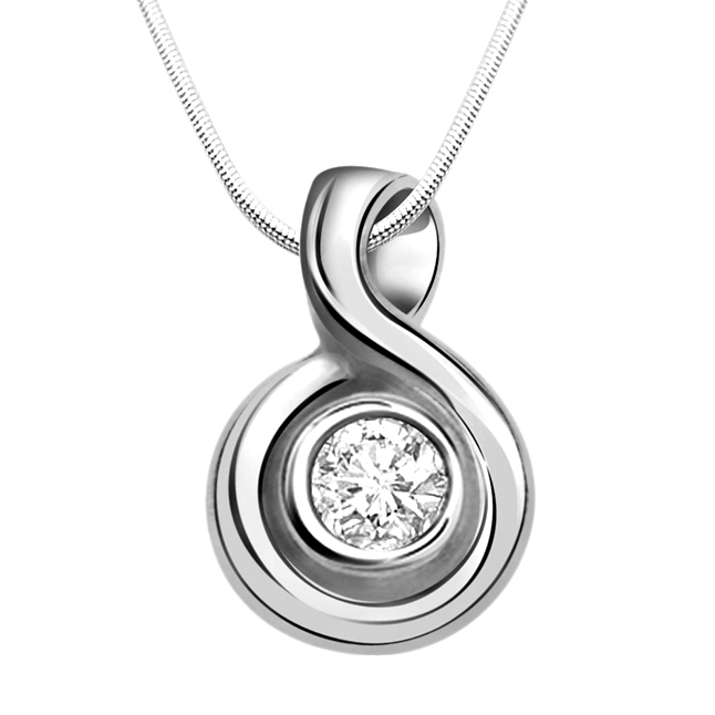 "One Track Mind -Real Diamond & Sterling Silver Pendants with 18"" Chain"