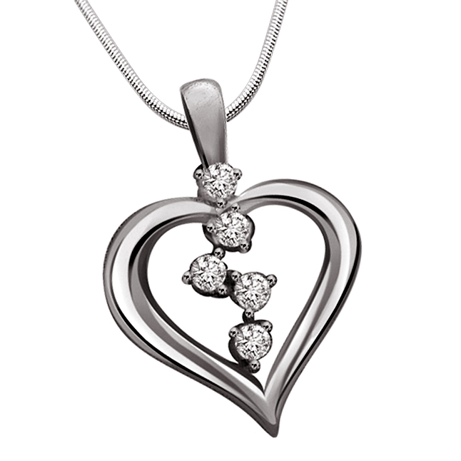 "Gifts Of Love -Real Diamond & Sterling Silver Pendants with 18"" Chain"
