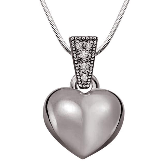 "Heart Full of Soul -Real Diamond & Sterling Silver Pendants with 18"" Chain"