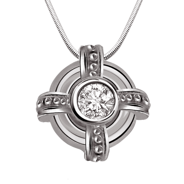 "Freeze Frame -Real Diamond & Sterling Silver Pendants with 18"" Chain"