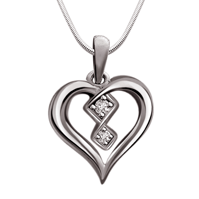 Love To Laugh - Real Diamond & Sterling Silver Pendant with 18 IN Chain