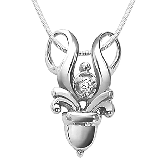 "Love Forever -Real Diamond & Sterling Silver Pendants with 18"" Chain"