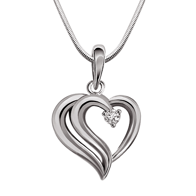 "Full Of Smiles -Real Diamond & Sterling Silver Pendants with 18"" Chain"