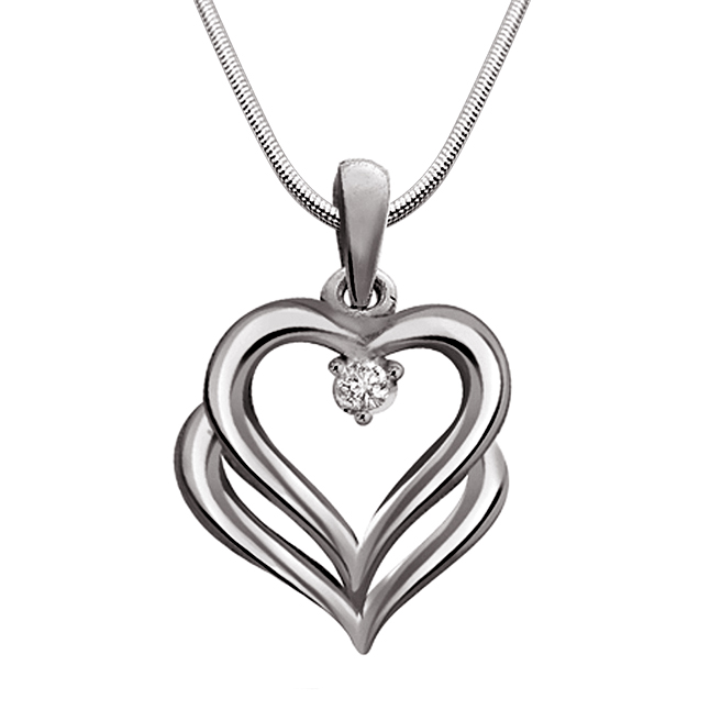 "Bond of Love -Real Diamond & Sterling Silver Pendants with 18"" Chain"