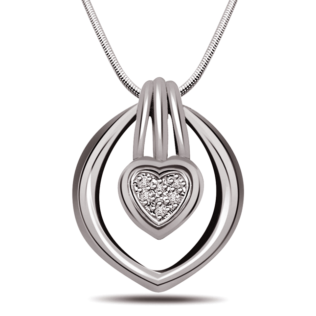 "Feel The Magic -Real Diamond & Sterling Silver Pendants with 18"" Chain"