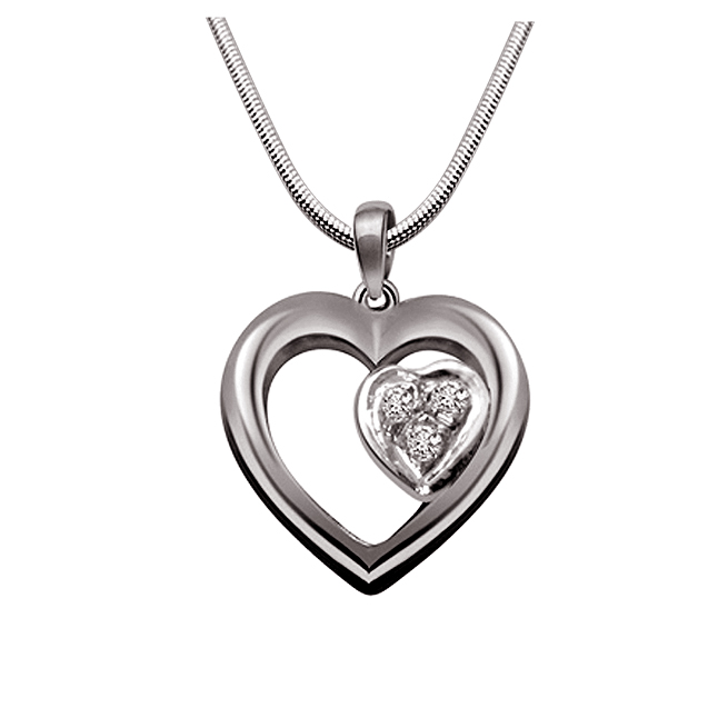 "Dual Hearts -Real Diamond & Sterling Silver Pendants with 18"" Chain"