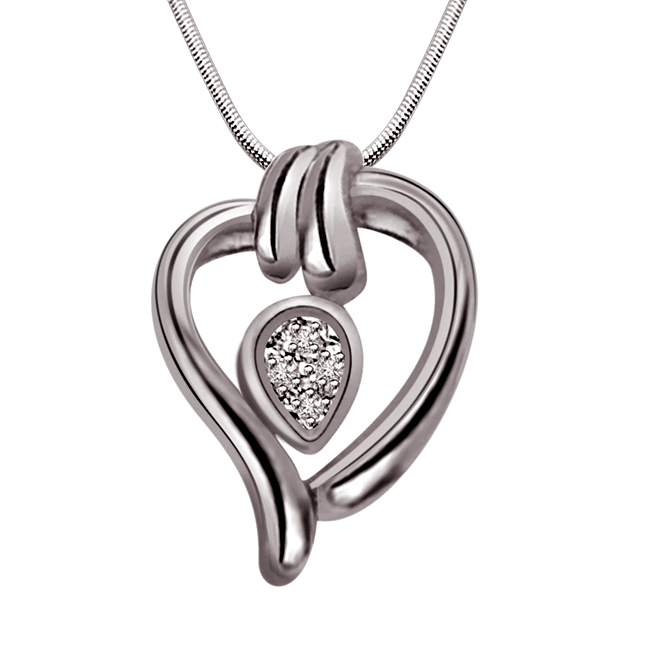 "C y Heart -Real Diamond & Sterling Silver Pendants with 18"" Chain"