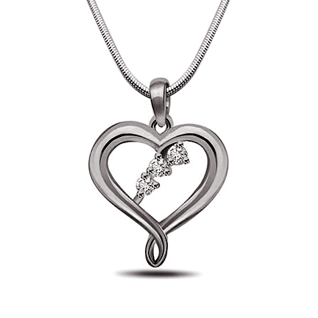 Precious Memories - Real Diamond & Sterling Silver Pendant with 18 IN Chain