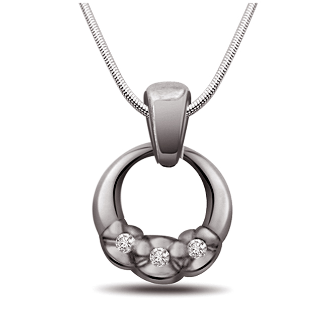 "Ocean Of Love -Real Diamond & Sterling Silver Pendants with 18"" Chain"