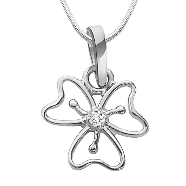 "Floral Fusion -Diamond & Silver Pendants with 18"" Chain"